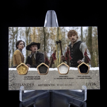 QM01 - Caitriona Balfe as Claire Fraser and John Bell as Young Ian Murray and Sam Heughan as Jamie Fraser